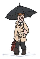 Mann im mit Regenschirm und Tasche