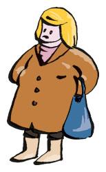 blonde Frau im braunen Mantel mit blauem Beutel