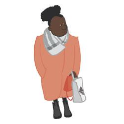 Frau im lachsfarbenen Mantel