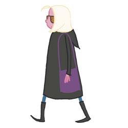Frau mit lila Tasche